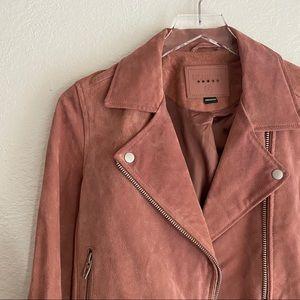 BLANK NYC rose coral cedar suede moto jacket SMALL